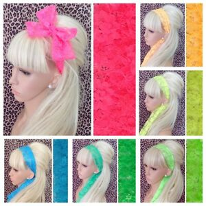 NEW BRIGHT NEON FLORAL LACE FABRIC SELF TIE BOW HAIR SCARF HEAD BAND 1980s RETRO