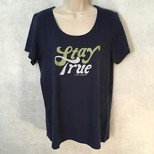"NEW Life Is Good Women's S/S Blue ""Stay True"" Classic Fit T-Shirt Sz Medium"