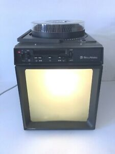 """Vintage Bell and Howell model 797 sound slide projector with 13"""" screen working"""