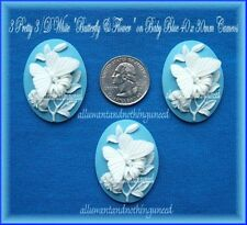 3 WHITE BUTTERFLY & FLOWER on BABY BLUE 40mm x 30mm Costume Jewelry Craft CAMEOS
