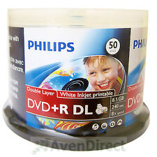50 Philips 8X White Inkjet Printable DVD+R DL Double Layer FREE Priority Mail
