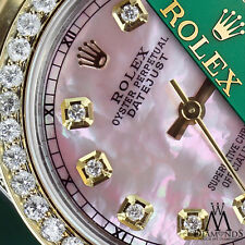 Ladies 26mm Rolex Oyster Perpetual Datejust Custom Pink Diamonds Dial Accent