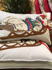 POTTERY BARN POLAR Santa BEAR Sleigh EMBROIDERED Lumbar PILLOW Cover Christmas