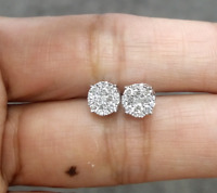 DEAL! 0.50CT NATURAL ROUND DIAMOND CLUSTER STUD EARRING IN 14K GOLD 6.5 MM