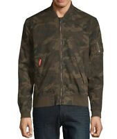Superdry NEW Green Mens Size Large L Fleece-Lined Bomber Camo Jacket $99 374