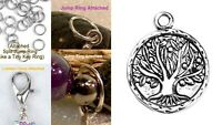 Tree of Life Silver Charm For Bracelet Traditional Dangle Clasp Lobster