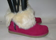 Fuchsia/Gold Button Winter Warm Flat Ankle Sexy Boot Size 6