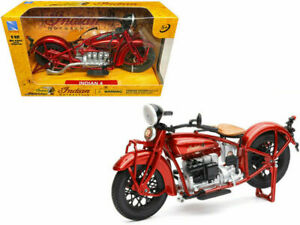 NewRay Indian Motorcycles Indian 4 Diecast Model 1/12 Scale Red Vintage Classic