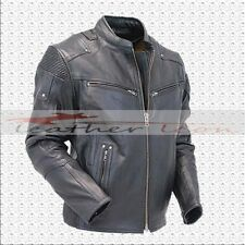 Mens Fashion Motorcycle Black Cafe Racer Biker Leather Jacket