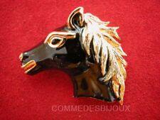 """Broche """"Face de Cheval"""" doré Crinière Course Hippique - Bijoux Vintage Sphinx"""