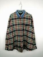 Vintage Mens Flannel Shirt Claybrooke Size XL Multi Check 100% Cotton Button Up