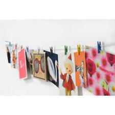Fotoleine mit 10 Farbigen Mini Holzklammern