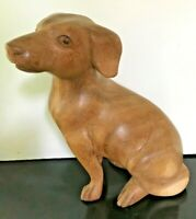 "Vintage Life-sized Hand Carved Wooden Chihuahua Dog 8"" tall"