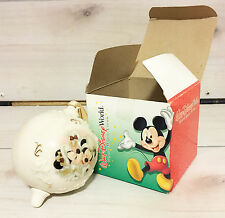 Disney World Bulb Ornament Winter Mickey & Minnie w/box! Christmas Snow