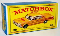 Matchbox Lesney No 20  CHEVROLET TAXI CAB Repro empty  box  style E