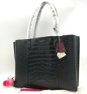 NWT $478 Tory Burch Perry Triple Compartment Croc Embossed Leather Tote Shopper