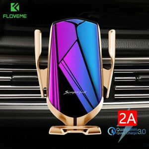 FLOVEME Qi Automatic Clamping 10W Wireless Charger Car Phone Holder Smart Infrar
