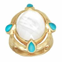 Ring w/ Crystal over Mother-of-Pearl & Turquoise, 14K Gold over Sterling Silver