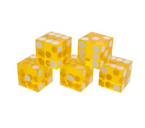 Precision Casino Dice 6-Sided 19mm Playing Dice Translucent Yellow 5pk