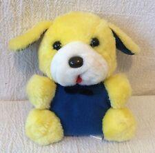 "6"" Vintage Plush Yellow & Blue Dog Black Bow Tie"