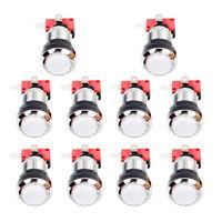 10x Chrome Plating 30mm LED Illuminated Push Buttons Switch Arcade Machine White