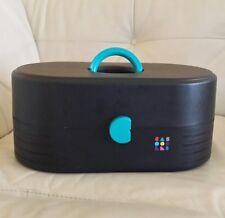 Vtg Caboodles Make-up Case Black Teal Mirror 3 Tier Tray Storage 2650 Large