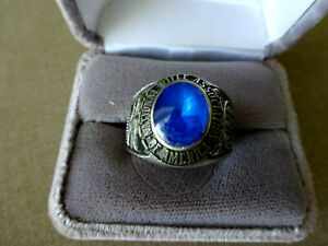 RARE VINTAGE MEN'S NATIONAL RIFLE ASSN. RING, BLUE STONE, STAINLESS STEEL, SZ 12