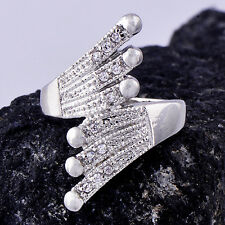 Vintage Womens White Gold Plated Clear clear crystal Feather Band Ring Size 7