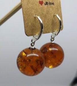 Amber earrings / Baltic amber / Orange amber / Drop earrings / Stone earrings