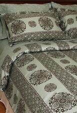 Queen Duvet Cover Set Blue Brown White Medallion Boho Chic Cotton Bedding