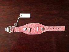 NEW MICHELE PINK ALLIGATOR DECO WATCH CUFF BAND - MADE IN FRANCE - 18MM