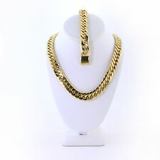 SOLID STAINLESS STEEL GOLD FINISH THICK MIAMI CUBAN CHAIN & BRACELET 16MM 20''