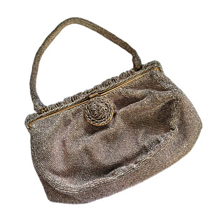 1940s Elaborately Beaded French Evening Bag in Deep Beige
