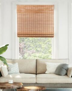 Chicology Cordless Light Filtering Natural Woven Bamboo Roman Shade - Squirrel