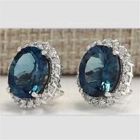 Fashion Jewelry 925 Silver Blue Topaz Dangle Drop Earrings Wedding Engagement