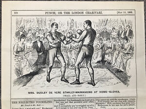 DUDLEY DE VERE STANLEY MAINWARING AT HOME GLOVES BOXING Engraving 1889 Antique