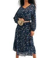 Free People Womens Dresses Blue Size Large L Maxi V-Neck Sheer Floral $148- 163