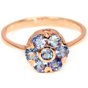 NATURAL AAA BLUE TANZANITE ROUND STERLING 925 SILVER FLOWER RING SIZE 5.75