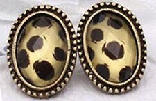 Idée cadeau bijou fantaisie boucles d'oreille dorée ovale , imprimé léopard