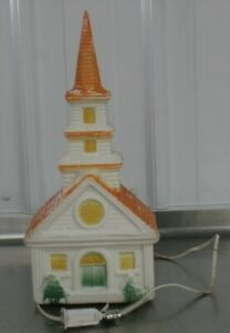 Rare Vintage Plastic Christmas Blow Mold Light Church Cathedral 60s-70s Decor