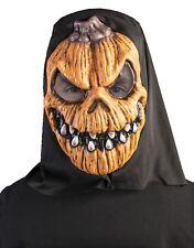 Black Hooded Orange Evil Pumpkin Monster Mask Halloween Costume Accessory Adult