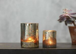 Rustic Antique Silver Mercury Glass Tea Light Candle Holder Tabia Nkuku Lighting