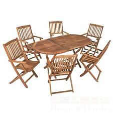 Garten Holzsitzgruppe 6 Personen Akazienholz 7-teiliges Gartenmöbelset klappbar