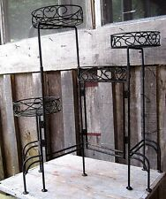 VINTAGE DISTRESSED WROUGHT IRON FOLDING 4 TIER PLANT STAND HOME & GARDEN HOLDER