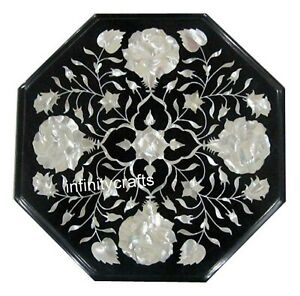 12 Inches Marble Coffee Table Top Floral Design Inlaid Sofa Side Table for Home