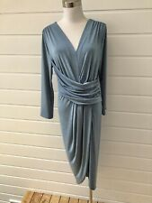 SHEIKE Blue Stretch Long Sleeve Midi Dress - Size 14