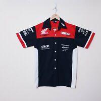 Honda Mens Size M Medium Black Red Honda Racing Button Up Shirt