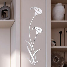 3D Diy Silver Flower Shape Acrylic Wall Sticker Modern Stickers Decoration