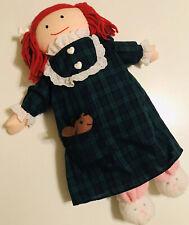 Vintage 1995 Eden 14� Madeline Doll Plush Stuffed Pajama Dress Plaid With Mouse