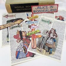 NEW Alice in Wonderland Dictionary Pages-Wall Art- Tea Party-Eat me Drink Me
